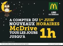 Nouveaux horaires McDrive