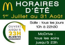 HORAIRES D'ETE JUSQU'AU 31 AOUT