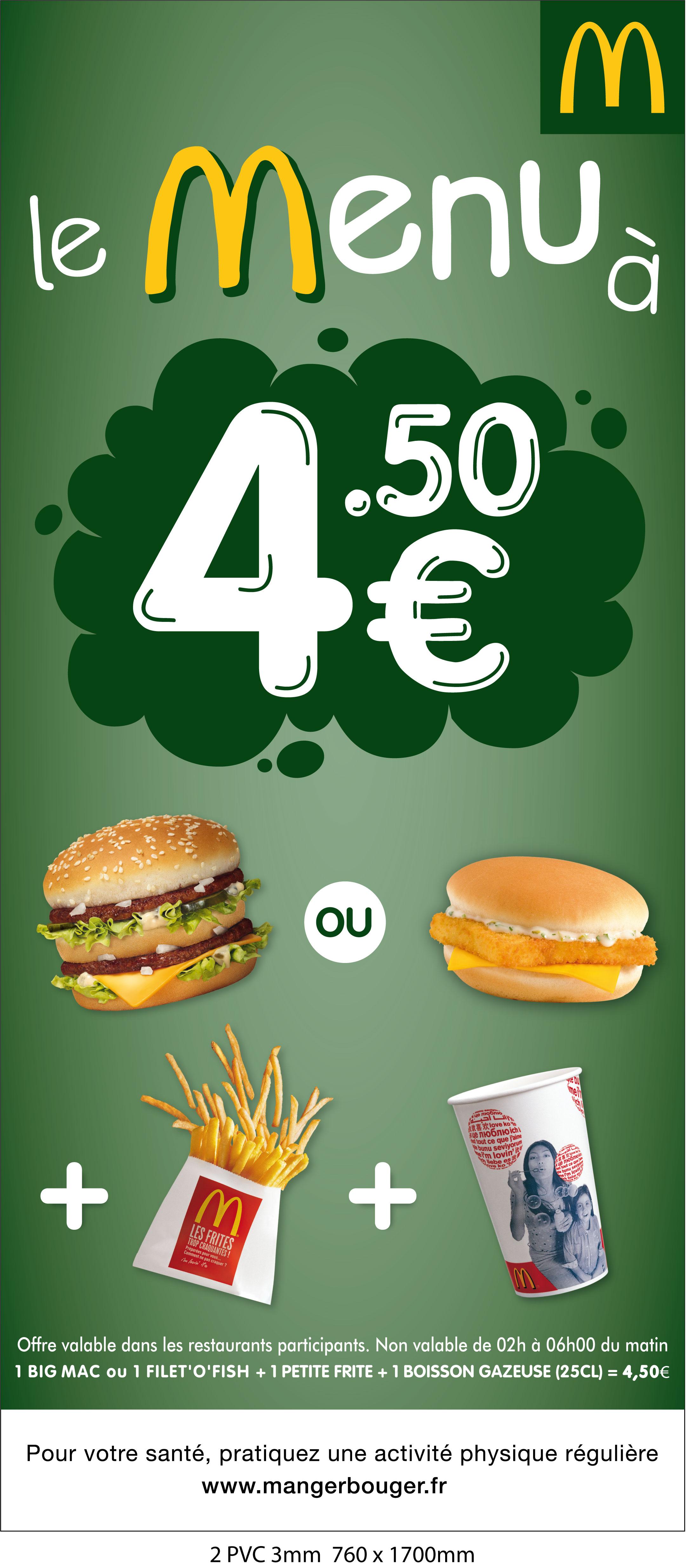 LE MENU à 4,50€